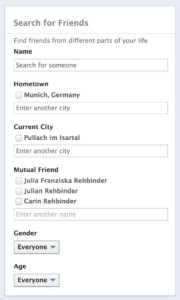 facebook search friends