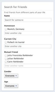 facebook search friends